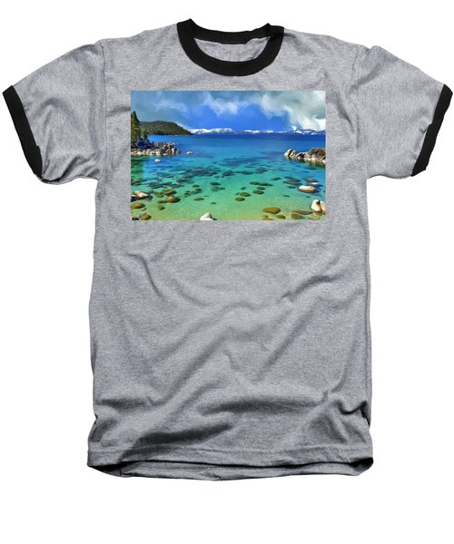 Lake Tahoe Cove Baseball T-Shirt by Dominic Piperata