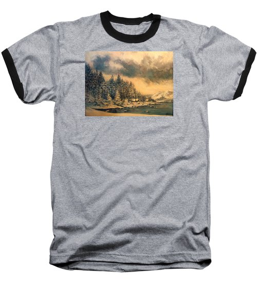 Baseball T-Shirt featuring the painting Lake Tahoe Winter Colors 2 by Donna Tucker