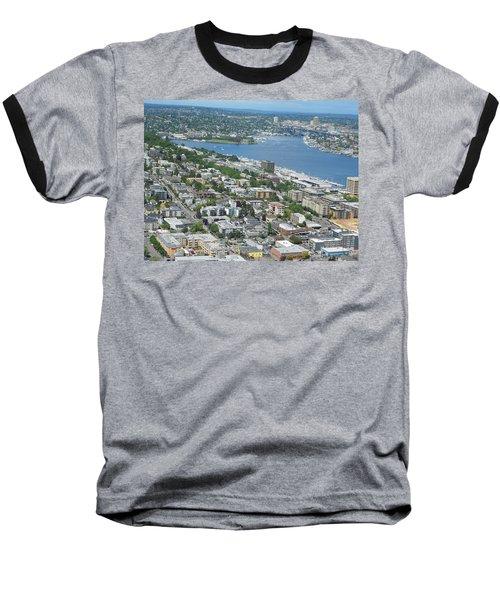 Lake Union Panorama Baseball T-Shirt by David Trotter