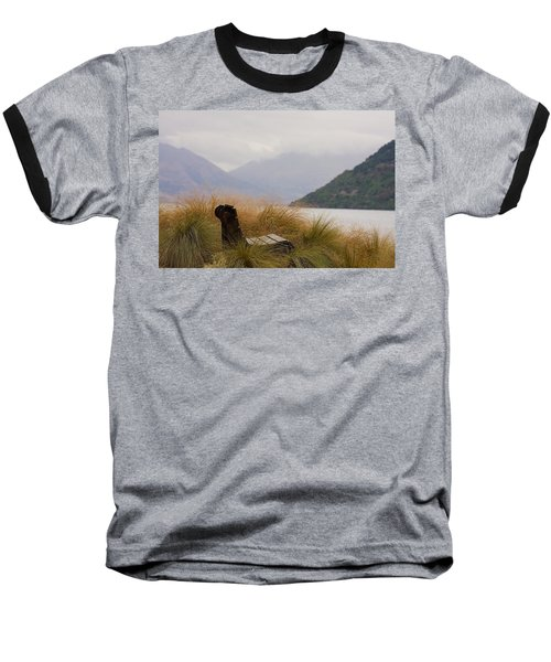 Lake Wakatipu Bench Baseball T-Shirt by Stuart Litoff