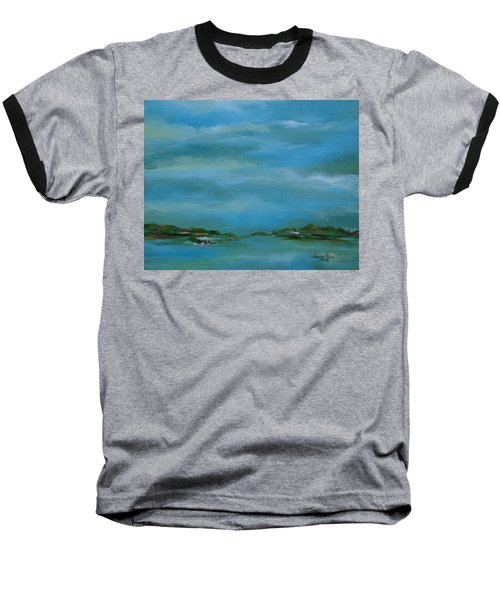 Baseball T-Shirt featuring the painting Lake Wallenpaupack Early Morning by Judith Rhue