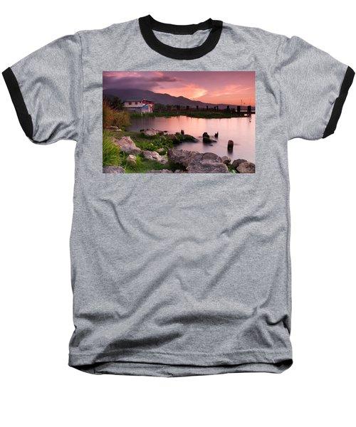 Lakeside Shanty At Dusk Baseball T-Shirt