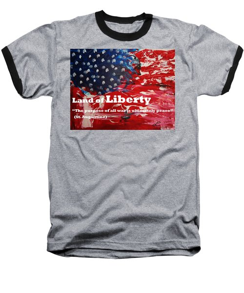 Land Of Liberty Print Baseball T-Shirt