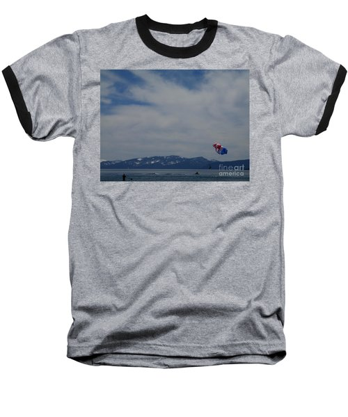 Baseball T-Shirt featuring the photograph Parasail Landing by Bobbee Rickard
