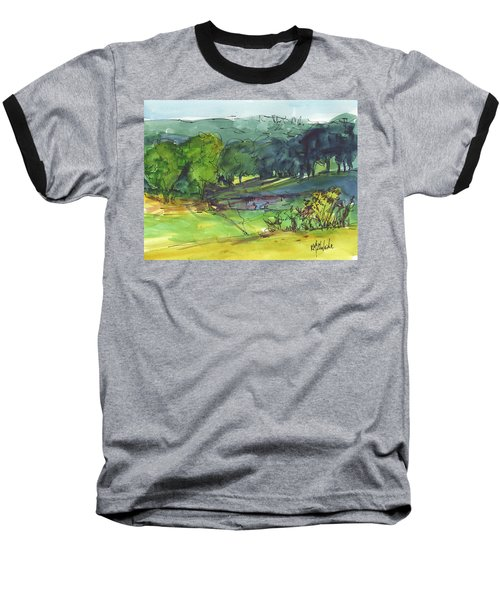 Landscape Lakeway Texas Watercolor Painting By Kmcelwaine Baseball T-Shirt