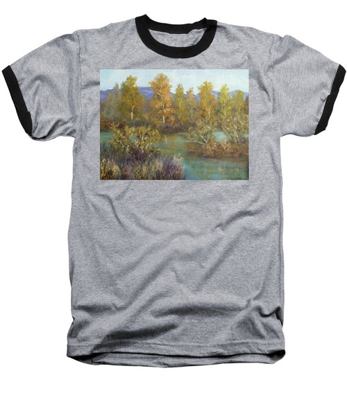Landscape River And Trees Paintings Baseball T-Shirt