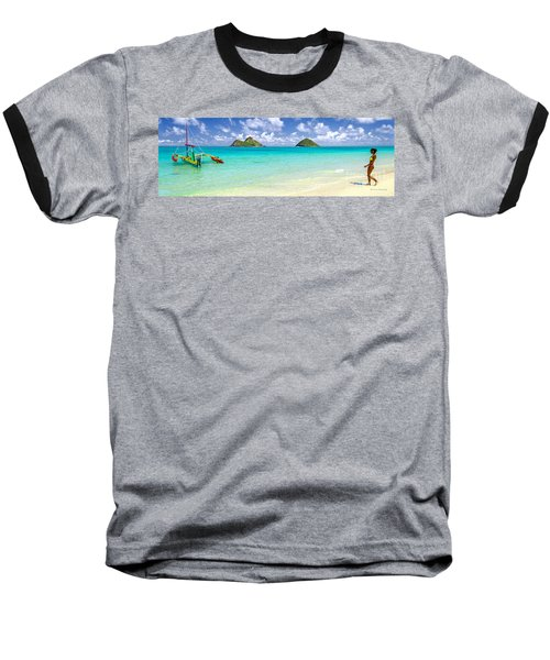 Lanikai Beach Paradise 3 To 1 Aspect Ratio Baseball T-Shirt by Aloha Art