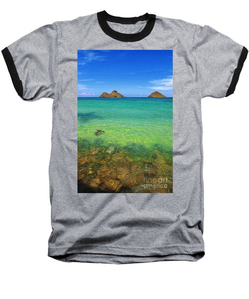 Lanikai Beach Sea Turtle Baseball T-Shirt by Aloha Art