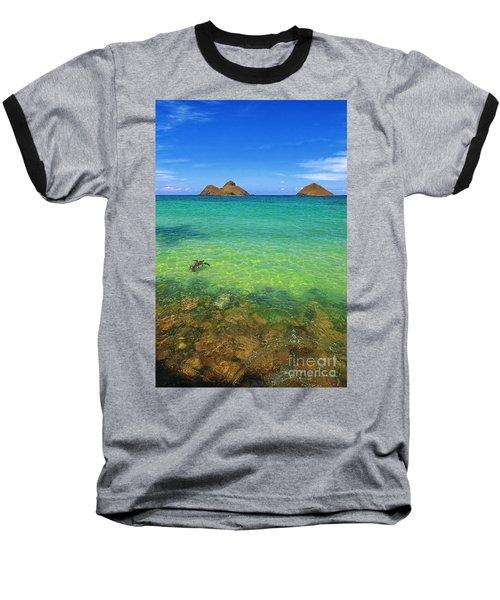 Lanikai Beach Sea Turtle Baseball T-Shirt