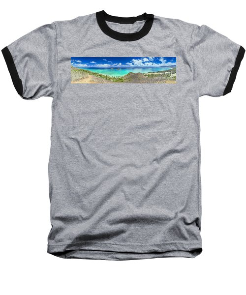 Lanikai Bellows And Waimanalo Beaches Panorama Baseball T-Shirt by Aloha Art