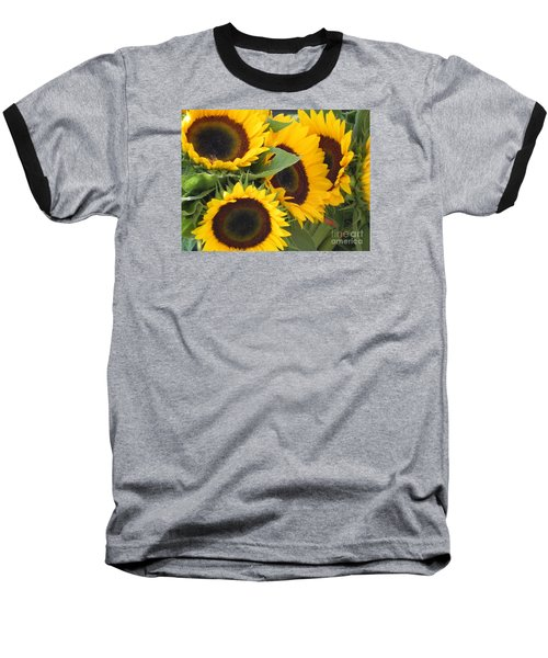Large Sunflowers Baseball T-Shirt by Chrisann Ellis
