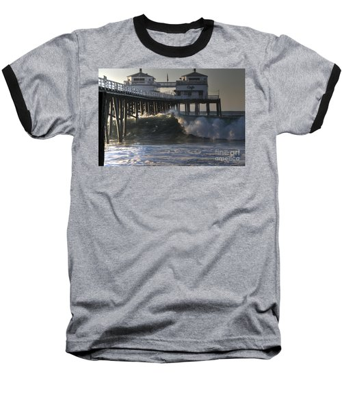 Large Wave At Malibu Pier Baseball T-Shirt
