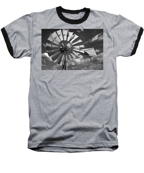 Large Windmill In Black And White Baseball T-Shirt