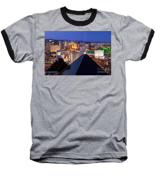 Las Vegas Skyline Baseball T-Shirt by Brian Jannsen