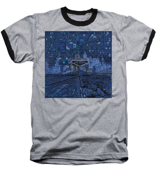Las Vegas Skyline Baseball T-Shirt by Bekim Art