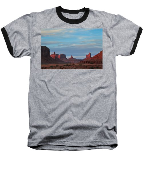 Baseball T-Shirt featuring the photograph Last Light In Monument Valley by Alan Vance Ley