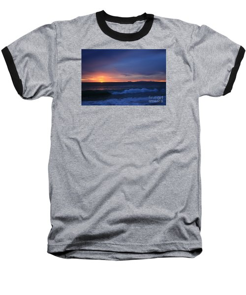 Baseball T-Shirt featuring the photograph Last Ray Of Sunlight At Pt Mugu With Wave by Ian Donley