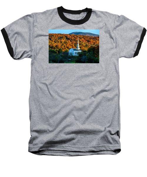 Last Rays Of Autumn Sun On Stowe Church Baseball T-Shirt by Jeff Folger