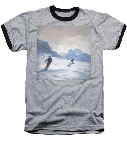 Last Run Les Arcs Baseball T-Shirt by Steve Mitchell