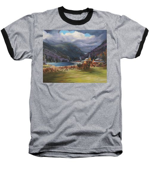 Last Train To Crawford Notch Depot Baseball T-Shirt by Nancy Griswold