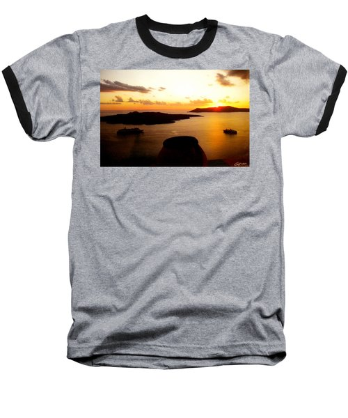 Late Sunset Santorini  Island Greece Baseball T-Shirt