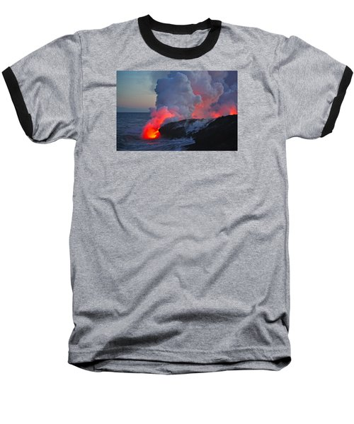 Lava Flow At Sunset In Kalapana Baseball T-Shirt by Venetia Featherstone-Witty