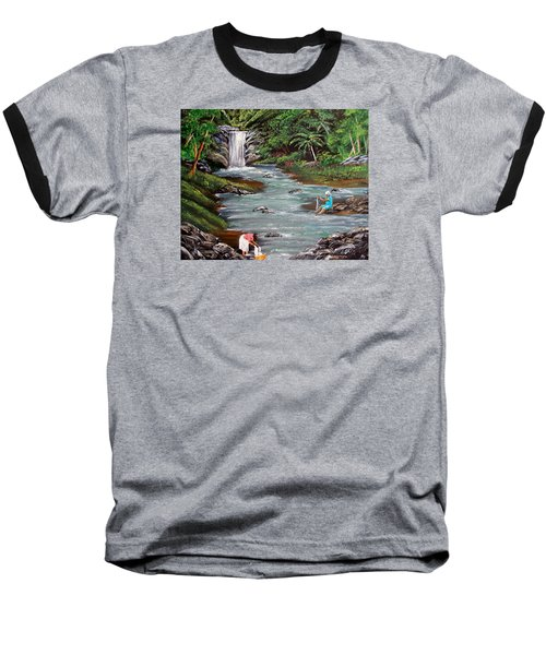 Lavando Ropa Baseball T-Shirt by Luis F Rodriguez