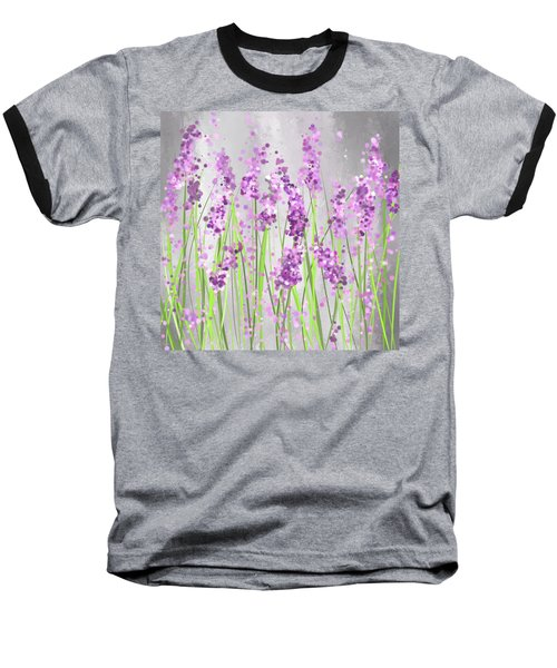 Lavender Blossoms - Lavender Field Painting Baseball T-Shirt