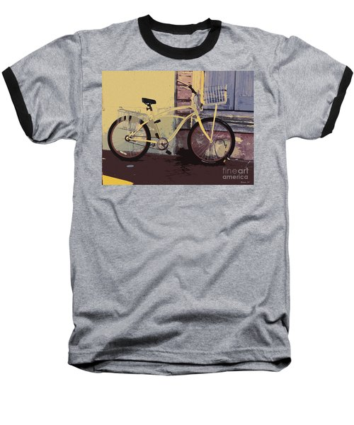 Baseball T-Shirt featuring the photograph Lavender Door And Yellow Bike by Ecinja Art Works
