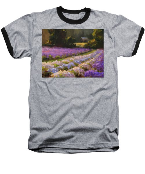 Lavender Farm Landscape Painting - Barn And Field At Sunset Impressionism  Baseball T-Shirt