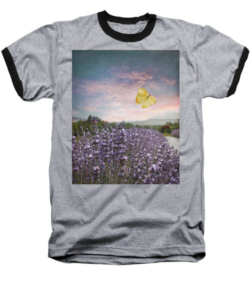Lavender Field Pink And Blue Sunset And Yellow Butterfly Baseball T-Shirt by Brooke T Ryan