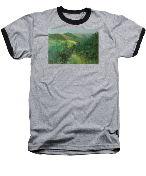 Layers Of Mountain Ranges Colorful Original Landscape Oil Painting Baseball T-Shirt by Elizabeth Sawyer