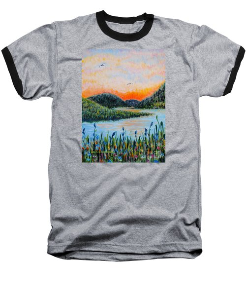 Baseball T-Shirt featuring the painting Lazy River by Holly Carmichael
