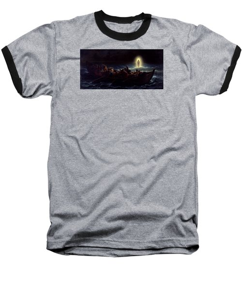 Baseball T-Shirt featuring the painting Le Christ Marchant Sur La Mer by Amedee Varint