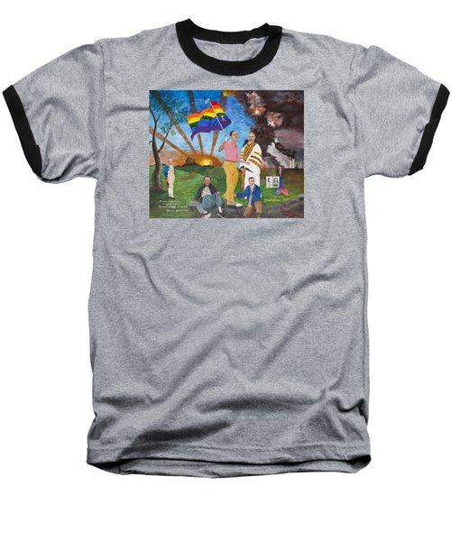 Leading Obama Left Baseball T-Shirt by Mark Robbins