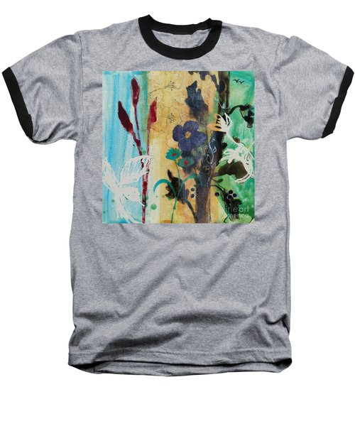 Baseball T-Shirt featuring the painting Leaf Flower Berry by Robin Maria Pedrero