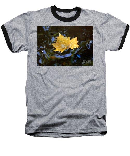 Leaf In Pond Baseball T-Shirt