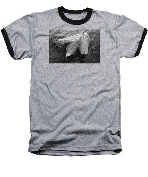 Leaf On Glass Baseball T-Shirt by John Schneider