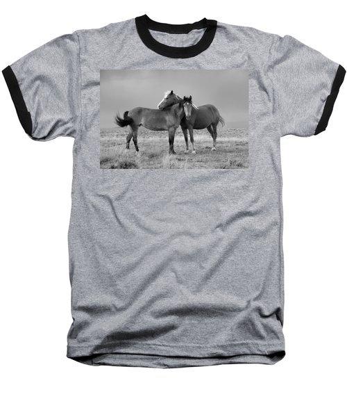 Lean On Me B And W Wild Mustang Baseball T-Shirt