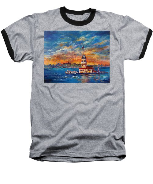 Baseball T-Shirt featuring the painting Leanders Tower  Istanbul by Lou Ann Bagnall