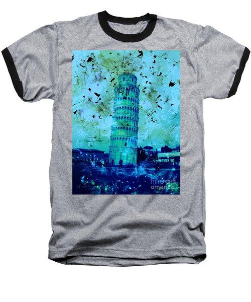 Leaning Tower Of Pisa 3 Blue Baseball T-Shirt