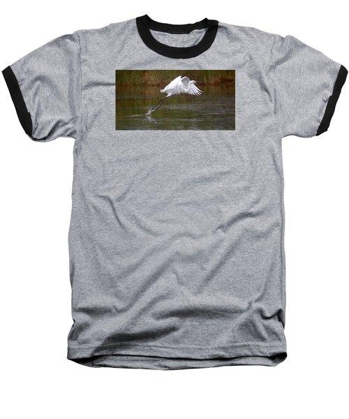 Leaping Egret Baseball T-Shirt by Leticia Latocki
