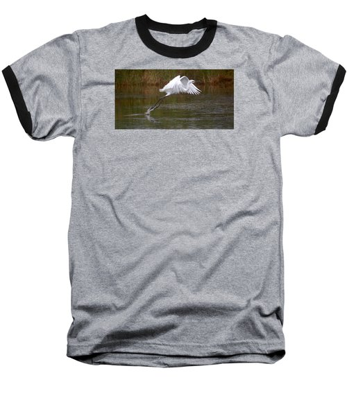 Leaping Egret Baseball T-Shirt
