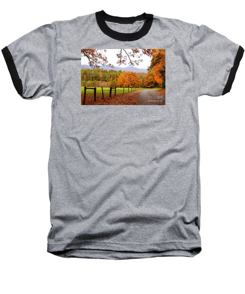 Baseball T-Shirt featuring the photograph Leaves A'fallin by Geraldine DeBoer
