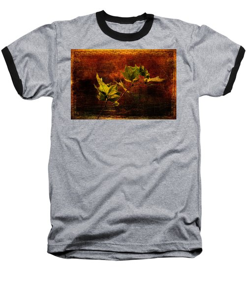 Leaves On Texture Baseball T-Shirt