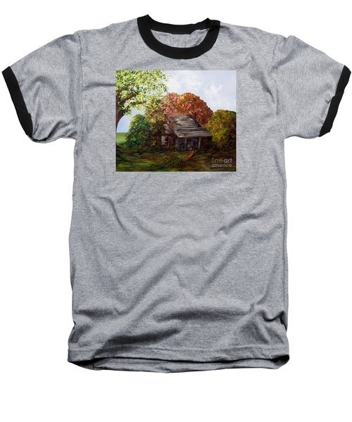 Baseball T-Shirt featuring the painting Leaves On The Cabin Roof by Eloise Schneider