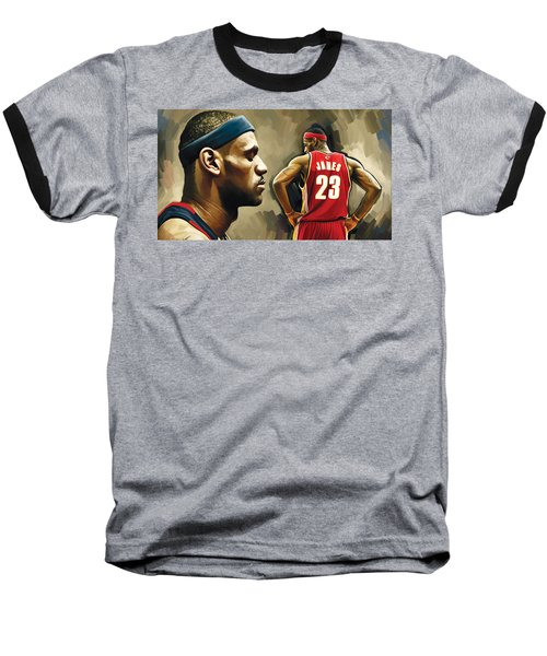 Lebron James Artwork 1 Baseball T-Shirt