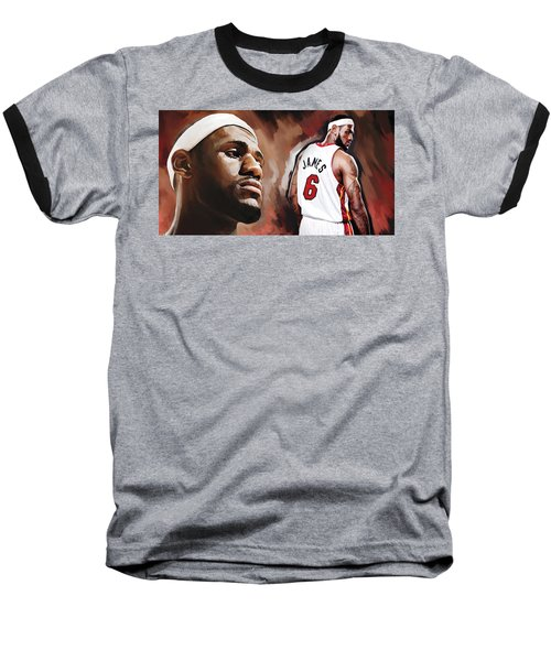 Lebron James Artwork 2 Baseball T-Shirt by Sheraz A