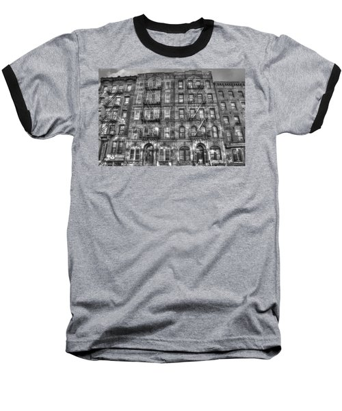 Led Zeppelin Physical Graffiti Building In Black And White Baseball T-Shirt by Randy Aveille