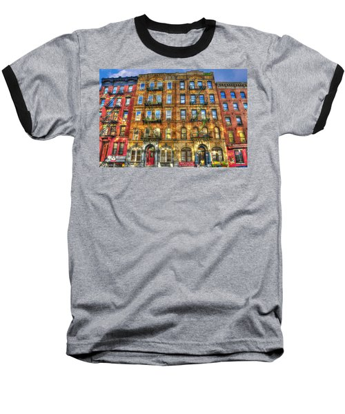 Led Zeppelin Physical Graffiti Building In Color Baseball T-Shirt by Randy Aveille